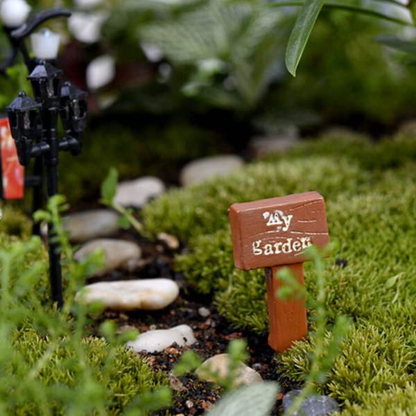 3PCS fairy garden gnome moss sign board signboard miniatures terrarium decor bonsai Figurines Micro Landscape resin Crafts