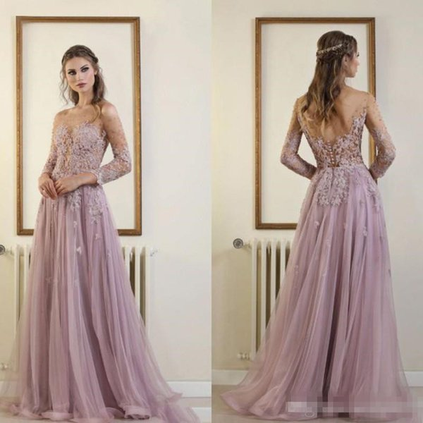 Vintage Elie Saab Prom Dresses Evening Wear Lilac Sweep Train Backless Lace Appliques Beaded Party Gowns Cheap vestidos de fiesta