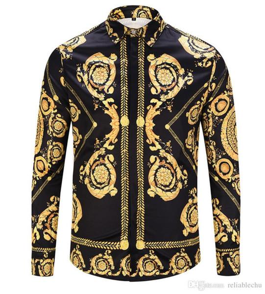 2019 HOT Autumn Spring print shirts Harajuku Medusa gold camisa hawaiana Fashion Retro floral sweater Men long sleeve tops shirts