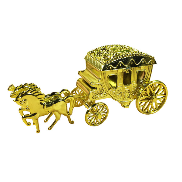 Candy Boxes Transparent Golden Silver Gift box Carriage Shape Sweet Chocolate Box Wedding Party Supplies