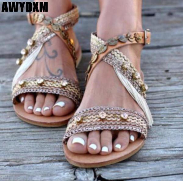 Kadın sandalet yaz kristal açık toeflat sandalet bayanlar elişi Dize Boncuk Toka Rahat ayakkabılar Açık plaj kadın ayakkabı S133