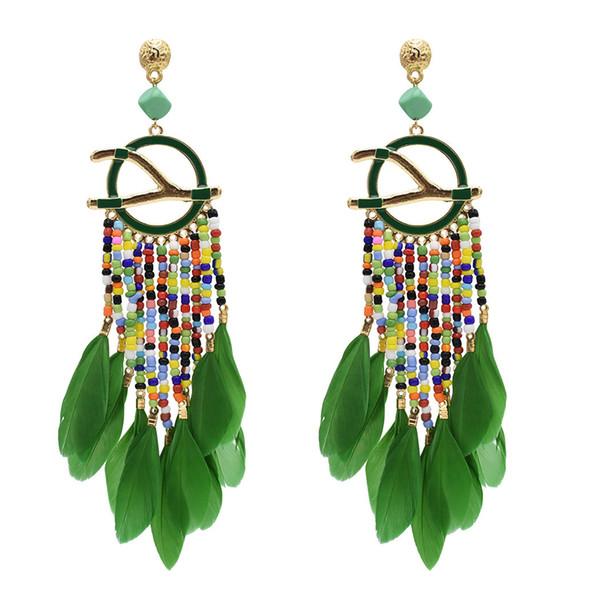 Women Beaded Tassel Earrings Bohemia Jewelries Ornaments Long Tassel Earrings Ethnic Style Feather Long Earring Exquisite Bijoux Pendant