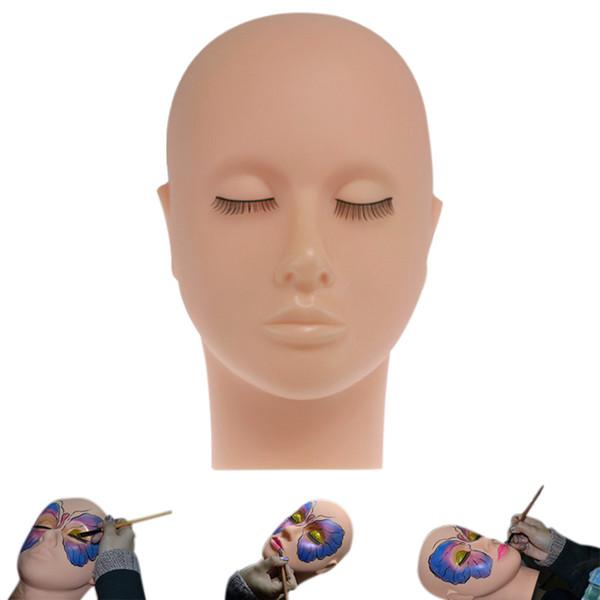 Maniquí Cabeza plana Práctica de silicona Extensiones de pestañas falsas Maquillaje Modelo Masaje Herramientas de práctica de entrenamiento RRA898