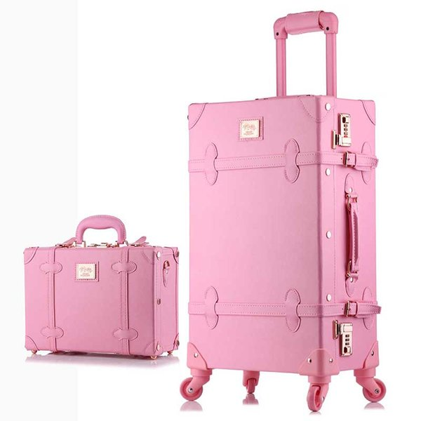 BeaSumore Retro PU Leather Rolling Luggage Set Spinner Women\u0027S Handbag  Suitcase Wheel Trolley Vintage Women Cabin Travel Bag Spotty Suitcase Kids