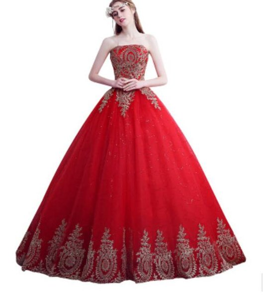 Women Luxury Dress Red tail Wrapped chest wedding Bride princess Sexy beautiful Embroidered lace Dress Dance Party dresses