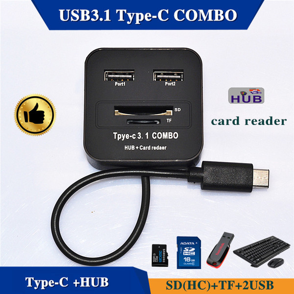 Plus 3.1 Type - C Combo Microd Sd Tf Hub Usb Universal Design Memory Card Reader Ipad Android Phone Pc Macbook