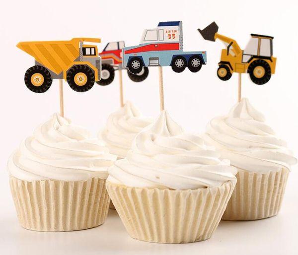 Araç Cupcake Topper İnşaat Araç Boys Doğum Günü Partisi Süslemeleri Mühendislik Kamyon Kek Dekorasyon Kaynağı Bebek Duş