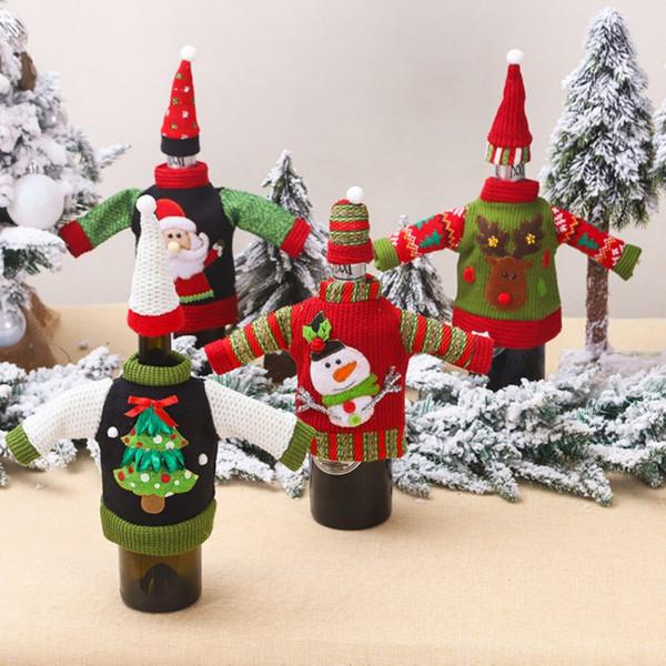 Bottiglia di vino di Natale Bottiglia di copertura magliata di Santa Vino copertura decorazioni per Maglione partito
