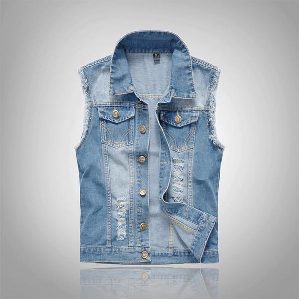 2018 Jeans Veste en coton sans manches Hommes Taille Plus 6XL bleu foncé Denim Jeans Veste Homme Cowboy Denim Vest Mens