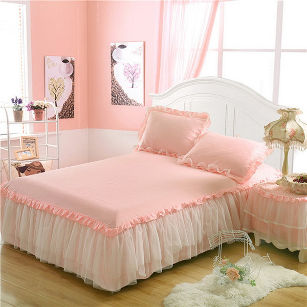 Lace Bed Skirt +2pieces Pillowcases Bedding Set Princess Bedding Bedspreads Sheet Bed For Girl Bed Cover