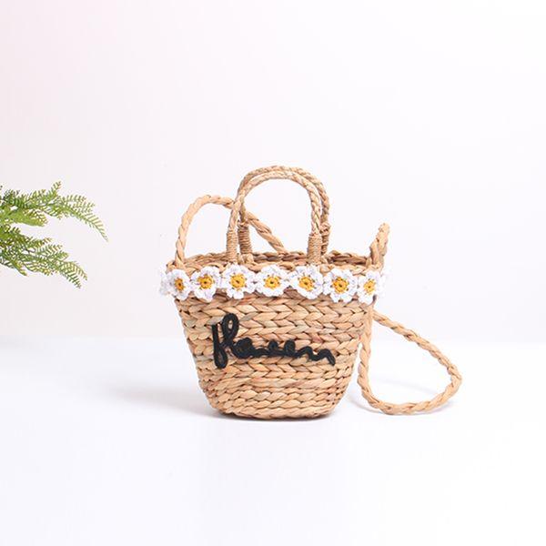 2019 New Fashion Woven Straw Beach Crossbody Bags Handbags Women Flowers Letter Messenger Bags Ladies Drawstring Travel Shoulder Bag Handbag