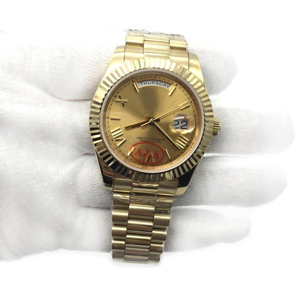 Top Fashion 18K Gold President Day-Date Sapphire Cystal Geneva Men Watches Automatic Mechanical Movement Male Wrist Watches Relo Reloj