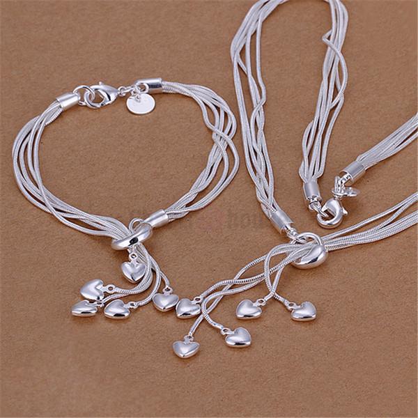 Silver 925 Jewelry Set for Women Fashion Heart Pendant Necklace Bracelets 2 pcs Costume Jewellery Sets Factory Price Bijoux