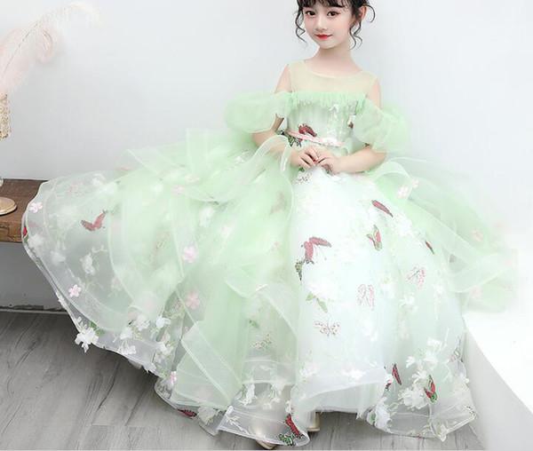 2019 New Elegant First Communion Dress Lace Sleeveless Ruffles Beading Mint Little Flower Girl Dress for Wedding Infant Tulle Ball Gowns