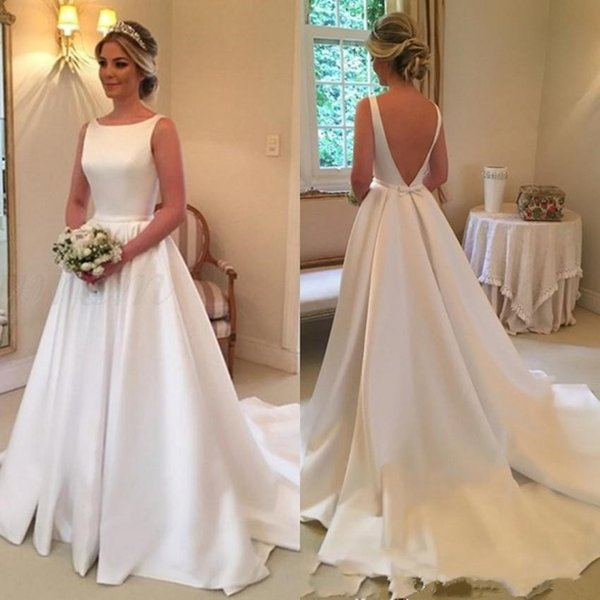 Hot High Quality Jewel A-line Satin Sleeveless Wedding Dresses With Sexy Backless Sweep Train Bridal Wedding Gowns