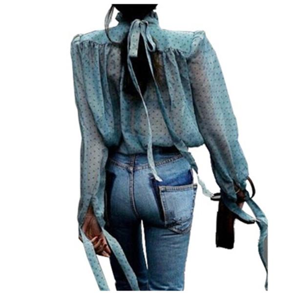 Fashion Spring Summer Vintage Spotted Print Chiffon Shirt Women Mesh Ruffles Blouse Puff Sleeve Stand Collar Tops