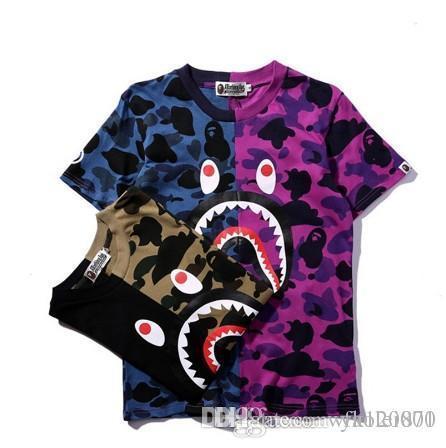 Tide brand APE camiseta de camuflaje con costuras en la cabeza de tiburón clásico de verano bicolor verde morado azul morado camiseta suéter hombres y mujeres nuevos