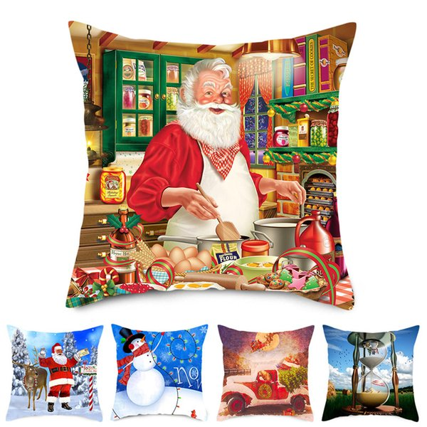 TTLIFE Nouvel An Coussin Santas Coussin pour Noël oreiller Housses pour la maison Canapé Chaise Décoration Bonhomme de neige Pillowcases