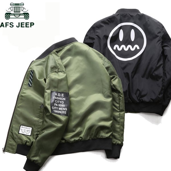 Brand Mens Pilot Bomber Jacket with Patches Green Both Side Wear Male Casual Flight Jacket Men Thin Chaquetas hombre