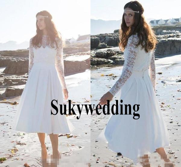 Скромные Короткие строки Свадебные платья с длинным рукавом высоким горлом Lace Летние каникулы Пляж Boho Seaside Люкс Свадебные платья чай Длина