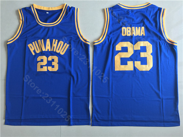 Punahou Basketball 23 Barack Obama High School Jerseys Sale Men Blue Team Color White All Stitching Free Shipping