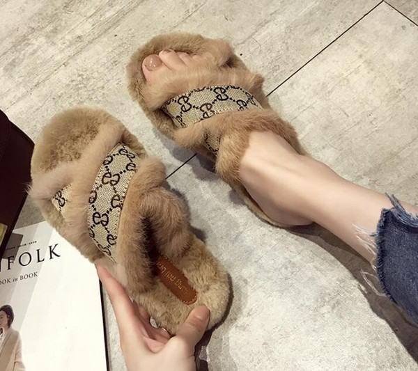 2020 rabbit fur slippers woman shoes vogue ladies flip flops flat-soled casual plush shoes women's furry indoor slides, Blue;gray