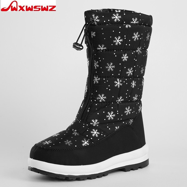 2019 WXWSWZ 2018 Winter Women Boots Mid-Calf Down Boots Plush Insole Botas Female Waterproof Ladies Snow Boots Girls Woman Shoes