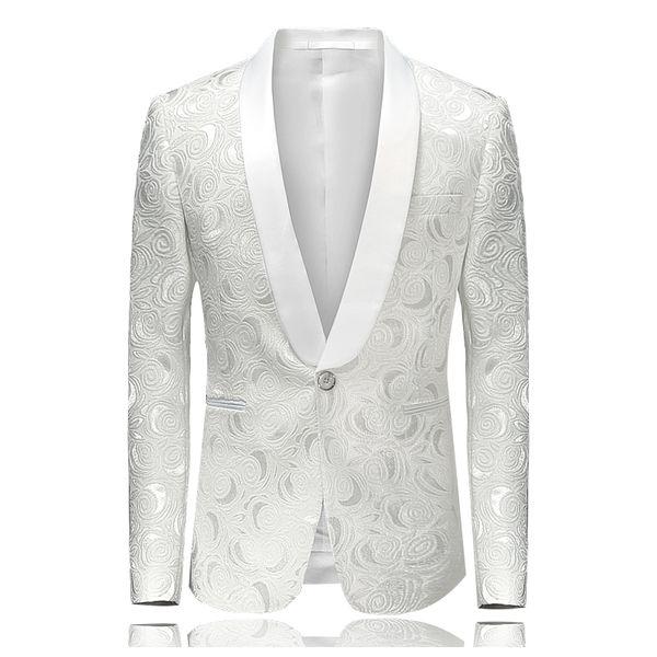 Белый Blazer для мужчин Цветочных Смокингов свадебных костюмов платья сцены для певцов Slim Fit Paisley дружка пиджака