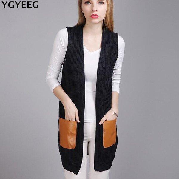 YGYEEG Women Knitted Cardigan PU Leather Pocket Sweater Vest Coat 2018 New Autumn Fashion Sleeveless Gray Black Long Cardigans