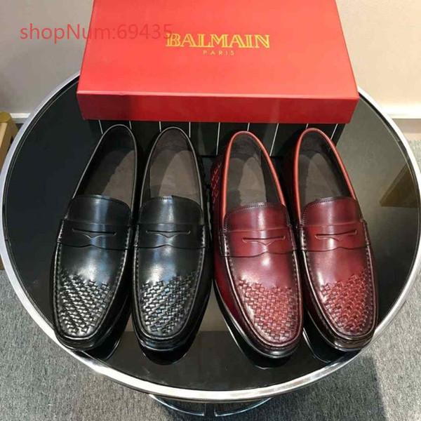 Nueva llegada primavera otoño de gama alta de lujo zapatos masculinos de alta calidad de cuero genuino tejido cómodo moda hombres ocio zapatos tamaño 38-44
