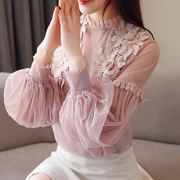 2019 Spring New Arrival Fairy Stand Collor Lantern Sleeve Chiffon Blouse Lace Applique Blouses Comfortable Fabric Free Shipping