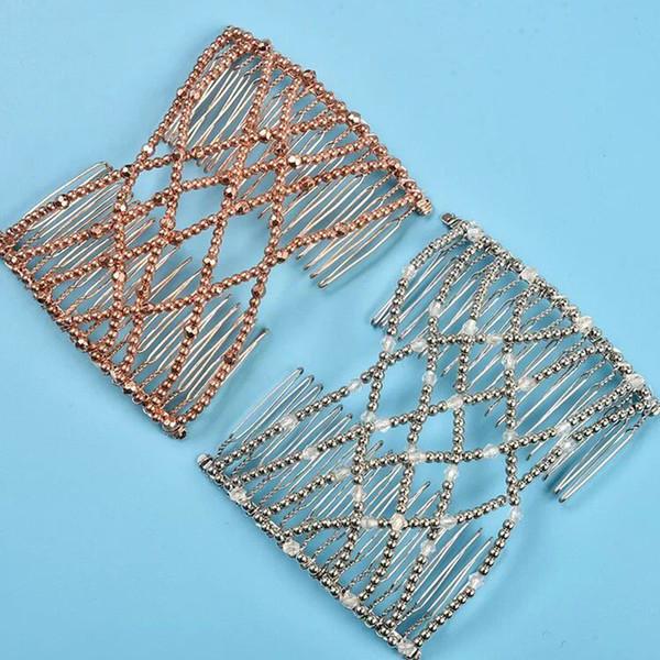 Beauty Elastic Hair Comb Magic DIY Vintage Headband Fashion Hair Maker Bun Combs Metal Hairpins For Women Accessories