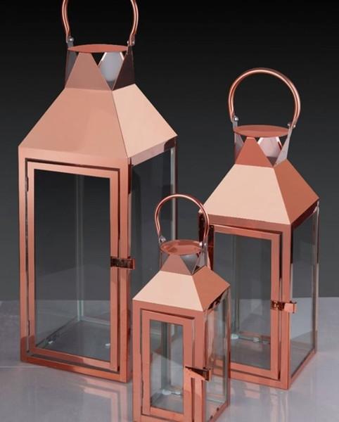Cobre do metal ferro forjado Candle Design Lanterna 3x RDC HB-002859946