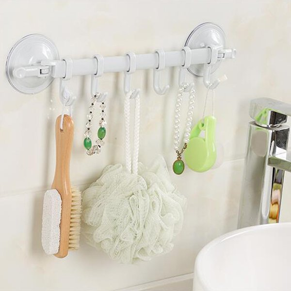 Wall-mounted Suction Cup Type 6 Hook Towel Bathroom Kitchen Rack Suction Cup Hanger For Kitchen Bathroom