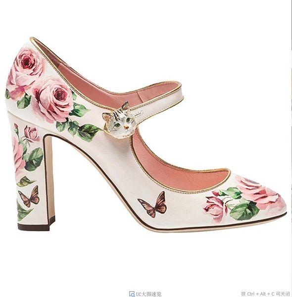 Rose Fleur Imprimé En Cuir Femme Chaussures Bout Rond Bloc Talons Hauts Chaussures De Bal De Parti Mignon Chaton Boucle Mary Janes
