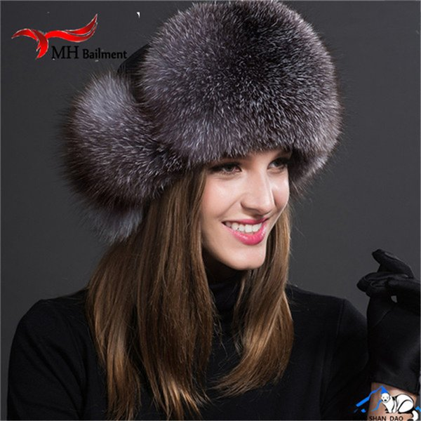 New Russia Hot Fox Fur Hat Fashion Winter Warm Raccoon Bomber Fox Fur Hat With Ear Flaps For Women Thick and Warm Fur Cap H#37 D19011503