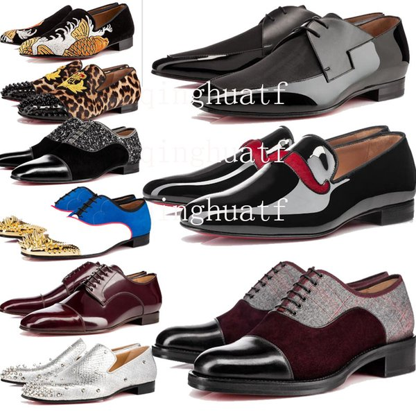 top popular Luxury Mens Designer Red Bottoms Dress Shoes Leather Oxford Red Casual Wear Shoes Matte Patent Leather Studs Flat Business Shoes box &2df29# 2019