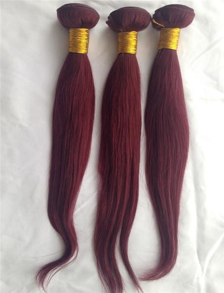 Malezya 99J Renk Düz Saç Uzantıları 1 Parça% 100% İnsan Saç Uzantıları 10-30 Inç Malezya Bakire Saç Dokuma