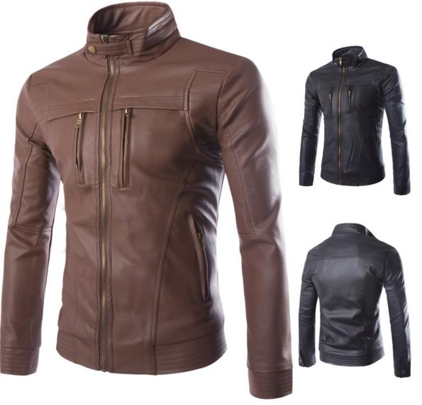 85ced4e65 2019 DHL Stand Collar Men'S Leather Boutique Leather Jacket Buffalo Leather  Collar PU Jacket Men'S Luxury Casual Jacket Brown Black Color M 4XL From ...