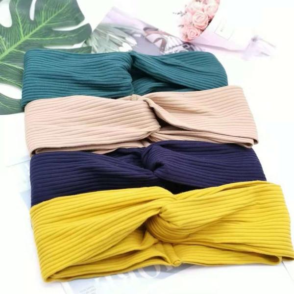 Vintage fascia per capelli in maglia di lana croce temperamento selvaggio accessorio dei capelli del tessuto fasce corda testa
