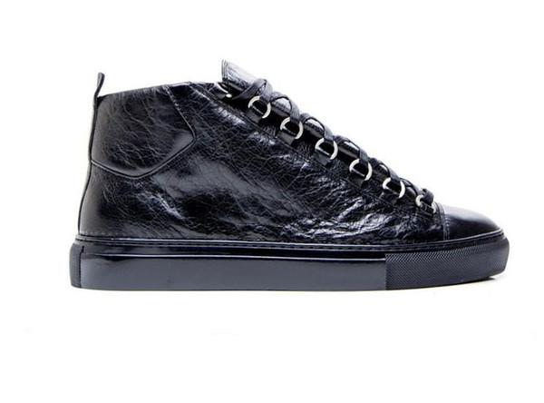 La mode des hommes arène haut-haut peau de bovin rides fissure cuir lacets jusqu'à zapatos hombre style français baskets kanye ouest chaussures m189604
