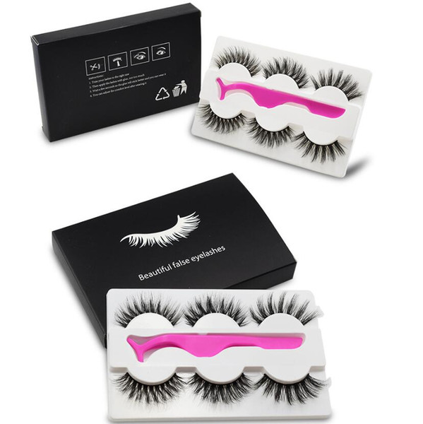 top popular 2020 The newest False eyelash 3d mink lashes 3 pair lashes thick Faux 3D real mink eyelashes with tweezers in box 2020