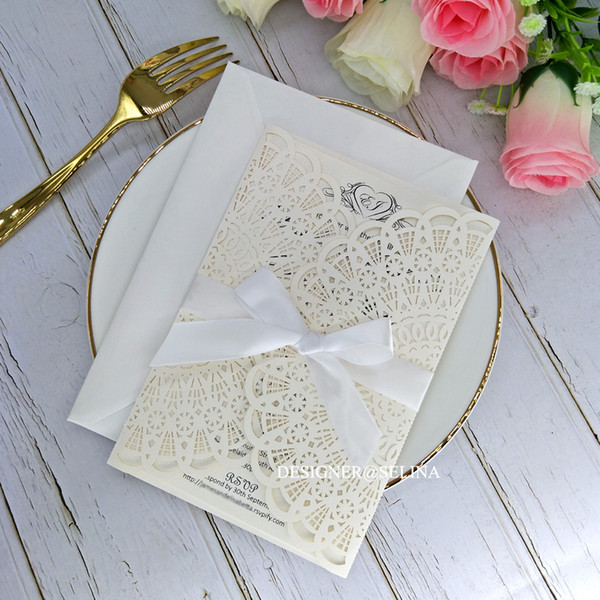 Ivory And White Ribbon Laser Cut Wedding Invitations Elegant Invitation Cards For Quinceanera Bridal Shower Engagement Graduation Wedding Invitations