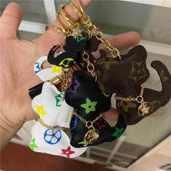 best selling New Brand Key Chains PU Leather Cartoon Teddy Bear Cat Design Fashion Keychain Charms Accessories Animal Keyring Ring Holder Car Bag Jewelry
