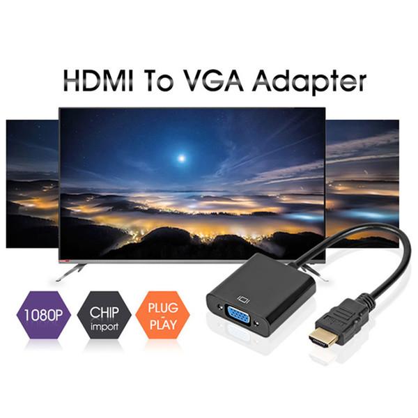 1080P Adattatore HDMI a VGA Cavo HDMI Convertitore digitale / analogico da HD a maschio Maschio a Famale per PC portatile TV Box Proiettore