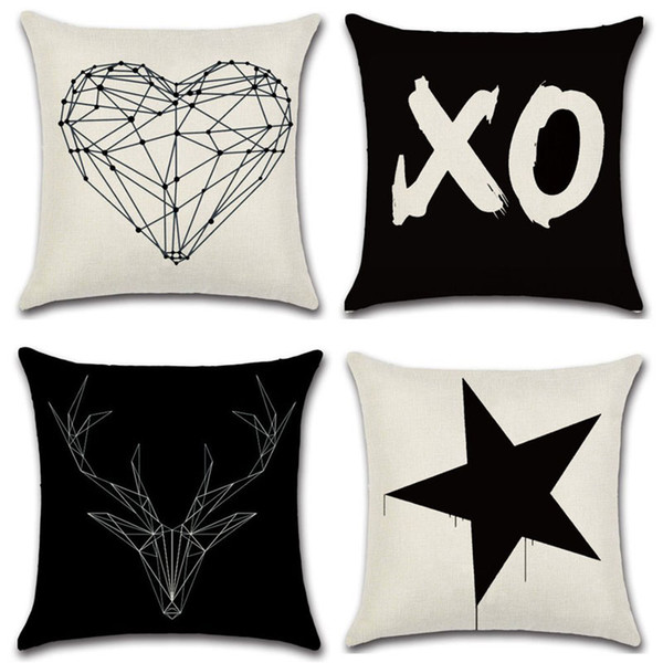 45cm*45cm Black White Cushion Cover Letter Love Printed Pillow Case Sofa Bed Throw Decorative Pillowcase Minimalist Home Decor
