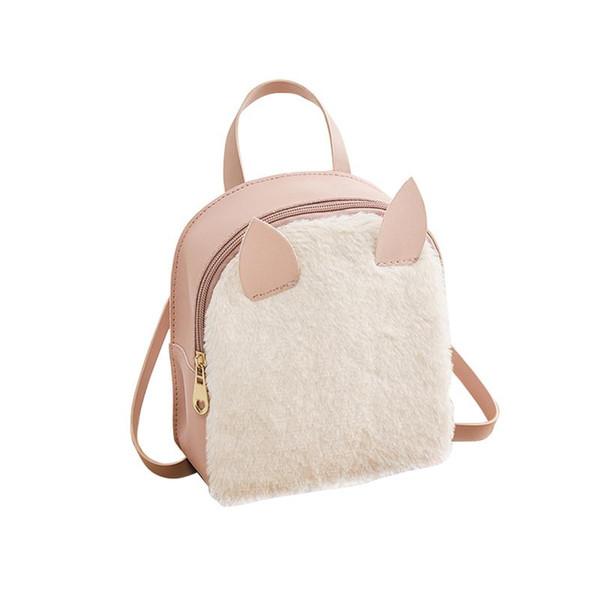 Japan Korea Style Backpack Bag New Casual Woolen Cat Backpack Shoulder Bags For Women Autumn Winter Cute Backpacks Rucksack Bag