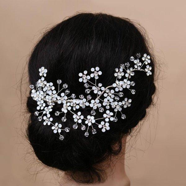 Trixy H262 Nefis Çiçek Gelin Saç Aksesuarları Kristal Saç Combs Düğün Klipler Aksesuar Takı Süsler