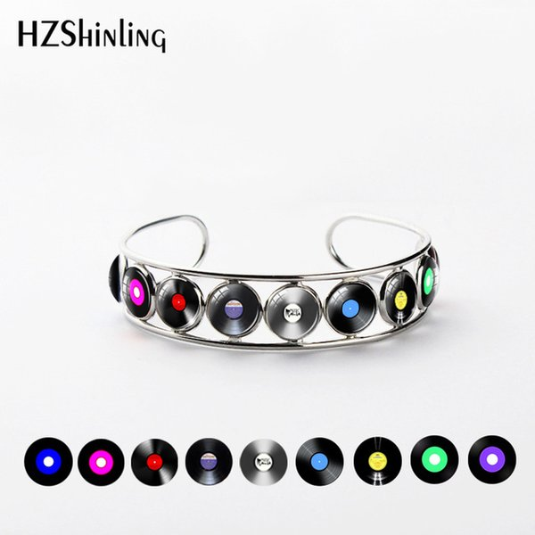 New Arrival Vinyl Record Bangle Silver Round Jewelry Glass Dome CD Record Bracelet Music Jewelry Fashion Silver Cuff Gift