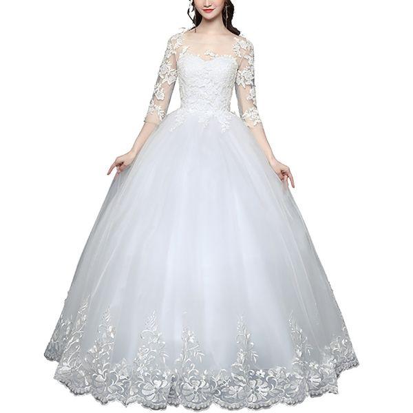 2019 pizzo bianco avorio a-line abiti da sposa manica trasparente per abito da sposa abito allacciato indietro abiti da sposa taglie forti estate